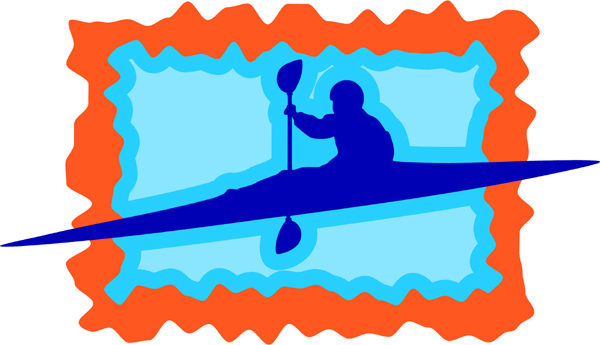 Kayaking man full color sports decal. Personalize on line. AUTO_BOAT_3C_18