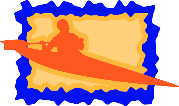 Kayaking full color sports sticker. Customize on line. AUTO_BOAT_3C_19