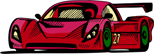 Race car full color sports decal. Personalize as you order. AUTO_BOAT_4C_00
