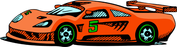 Race car full color sports sticker. Personalize on line. AUTO_BOAT_4C_02
