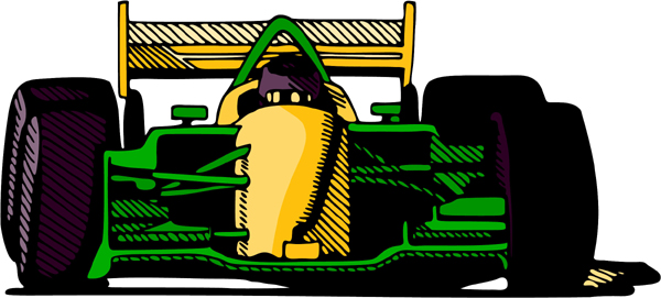 Race car action sports decal in full color. Customize on line. AUTO_BOAT_4C_03