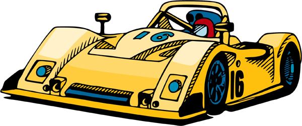 Race car full color sports sticker. Customize on line. AUTO_BOAT_4C_04