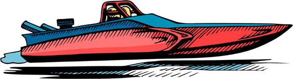 Speedboat full color sports decal. Customize on line. AUTO_BOAT_4C_05