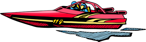 Speedboat full color sports sticker. Personalize on line. AUTO_BOAT_4C_06