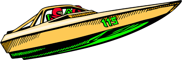 Speed boat full color sports sticker. Personalize on line. AUTO_BOAT_4C_07