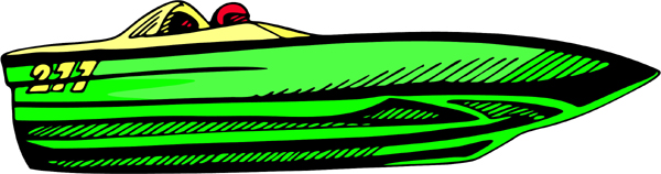 Racing boat full color sports decal. Customize on line. AUTO_BOAT_4C_08