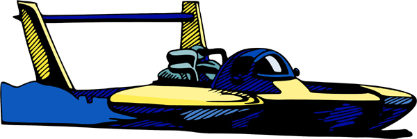 Jet racing boat full color sports decal. Personalize on line. AUTO_BOAT_4C_09