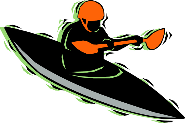 Kayak full color sports sticker. Personalize on line. AUTO_BOAT_4C_19