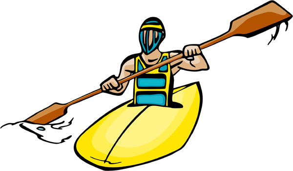 Kayaking full color sports sticker. Customize on line. AUTO_BOAT_4C_20