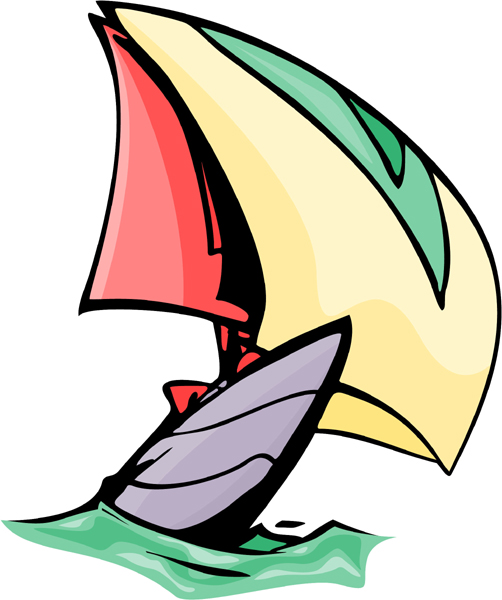 Colorful sailboat action sports decal. Customize on line. AUTO_BOAT_5C_02