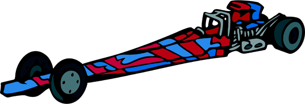 Drag racer full color sports sticker. Personalize on line. AUTO_BOAT_5C_04