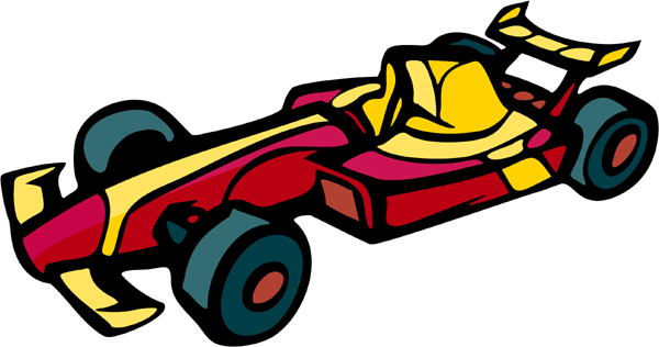 Race car full color sports action decal. Customize as you order. AUTO_BOAT_5C_07