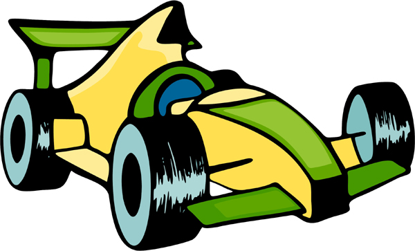 Racing car full color action sports decal. Customize on line. AUTO_BOAT_5C_12