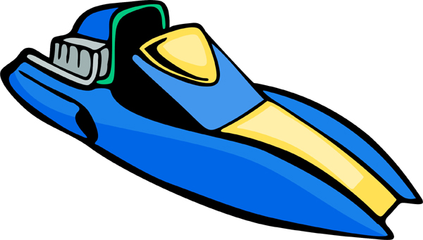 Racing boat full color action sports decal. Personalize on line. AUTO_BOAT_5C_14