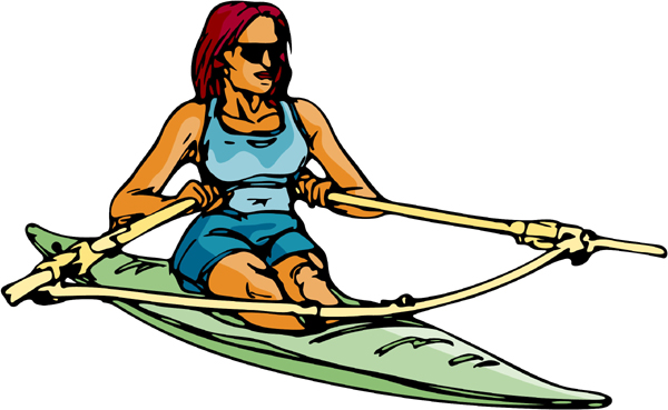Lady rowing small kayak full color action sports decal. Personalize on line. AUTO_BOAT_6C_00