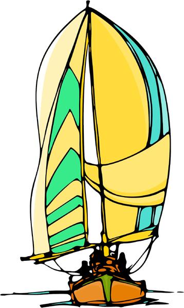 Sailboat full color sports sticker. Personalize on line. AUTO_BOAT_6C_01