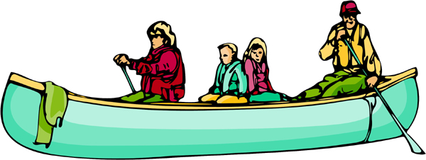 Canoeing family full color sports sticker. Personalize on line. AUTO_BOAT_6C_03