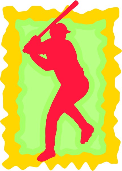 Baseball 'batter up' full color sports sticker. Make it personal! BASEBALL_3C_03