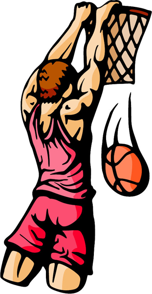 Basketball action color sports decal. Customize on line. BASKETBALL_5C_27