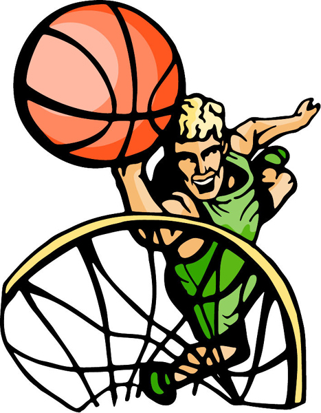 Aiming for the basket action full color sports decal. Personalize on line. BASKETBALL_5C_29