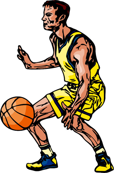 Basketball action color sports decal. Customize on line. BASKETBALL_6C_17