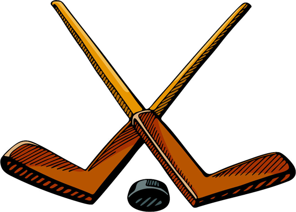 Crossed hockey sticks with puck