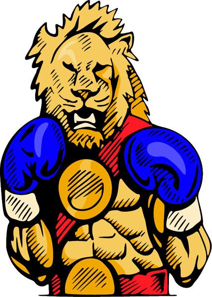 Lion boxing mascot full color sports decal. Personalize on line. MASCOTS_4C_26