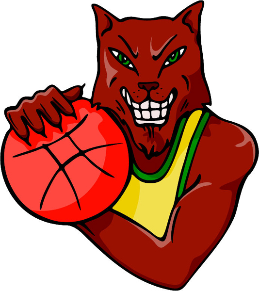 Wildcat basketball mascot full color action sports sticker. Personalize on line. MASCOTS_4C_47