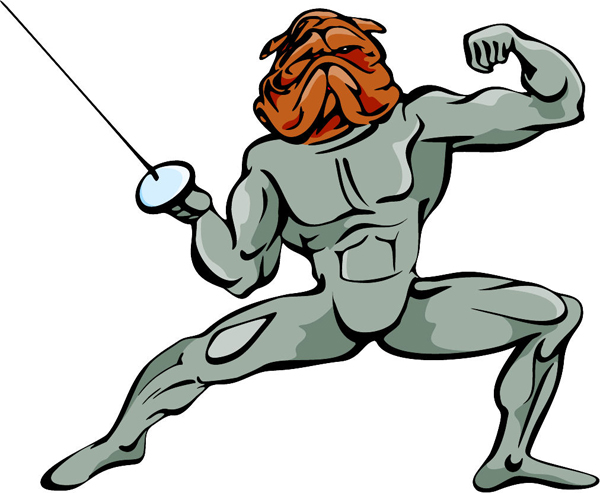 Bulldog fencing mascot full color action sticker. Personalize on line. MASCOTS_5C_050