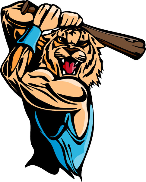 Wildcat baseball mascot full color sports decal. Personalize on line. MASCOTS_5C_054
