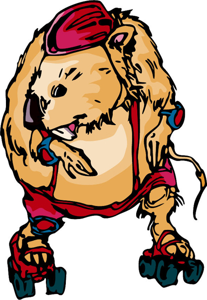 Beaver rollerskating mascot full color sports sticker. Personalize on line. MASCOTS_6C_14