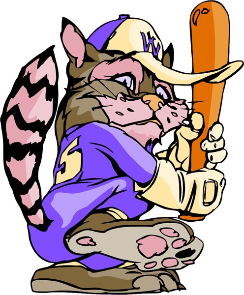 Wildcat baseball mascot full color action sports sticker. Personalize on line. MASCOTS_6C_22