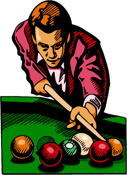 Pool player color sports sticker. Personalize on line. POOLHALL_DARTS_4C_01
