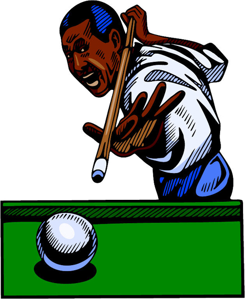 Pool player full color action sports decal. Personalize on line. POOLHALL_DARTS_4C_03