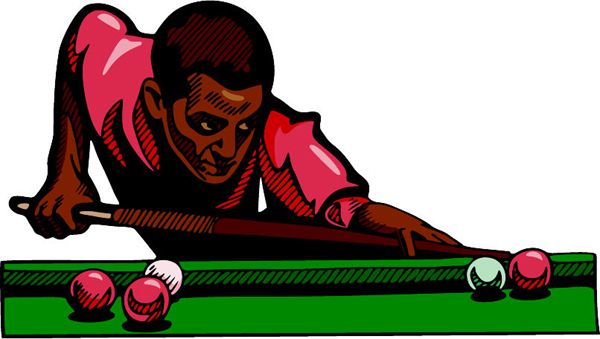 Pool player full color sports decal. Customize on line. POOLHALL_DARTS_4C_04