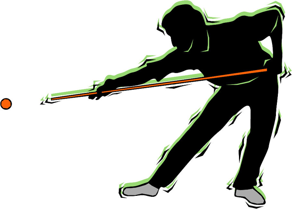 Pool player color action sports sticker. Customize on line. POOLHALL_DARTS_4C_10