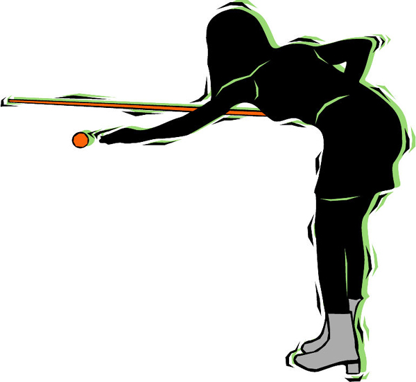 Lady pool player color sports sticker. Personalize on line. POOLHALL_DARTS_4C_11