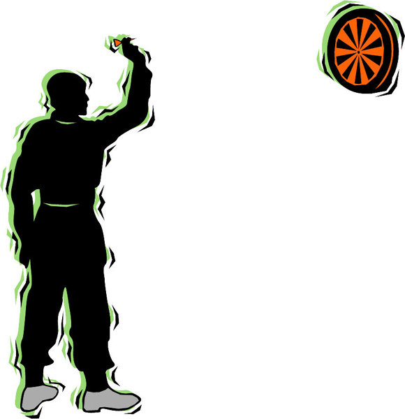 Darts player action sports decal in full color. Customize on line. POOLHALL_DARTS_4C_14