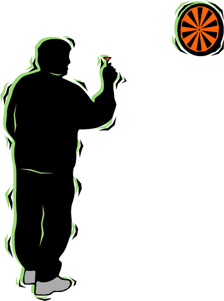 Darts player full color sports sticker. Personalize on line. POOLHALL_DARTS_4C_15