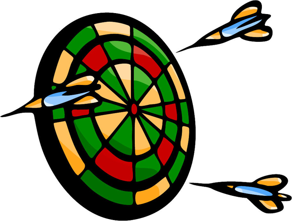 Darts and target full color sports sticker. Personalize as you order. POOLHALL_DARTS_5C_01