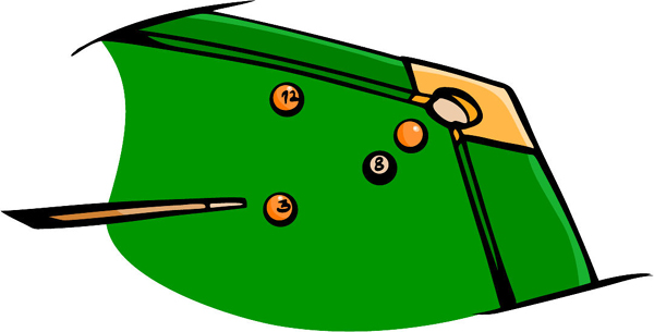 Pool table and balls full color sports sticker. Make it yours! POOLHALL_DARTS_5C_05