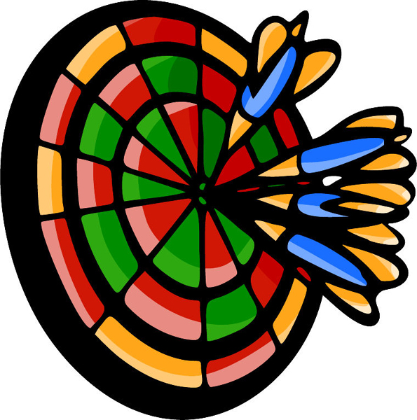 Darts on the board full color sports decal. Personalize on line. POOLHALL_DARTS_5C_07