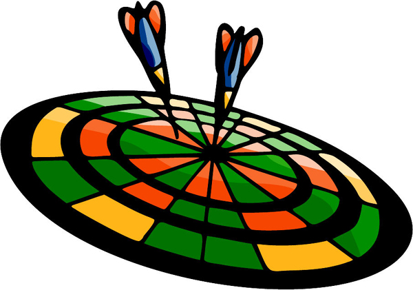 Darts full color sports sticker. Customize on line. POOLHALL_DARTS_5C_09