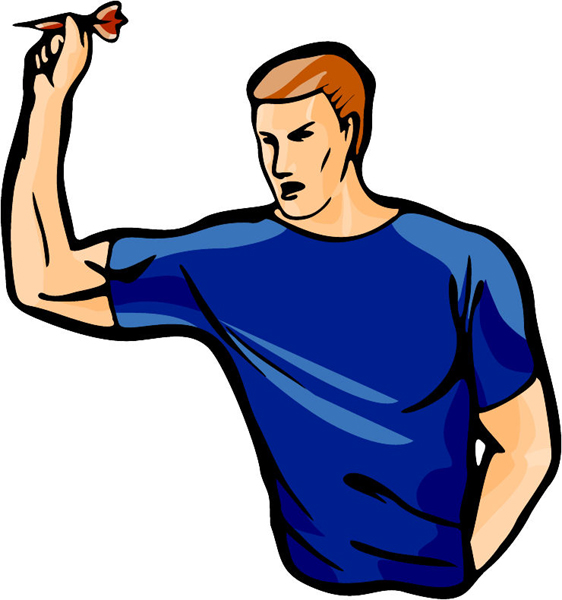 Darts player full color sports sticker. Personalize as you order. POOLHALL_DARTS_5C_10