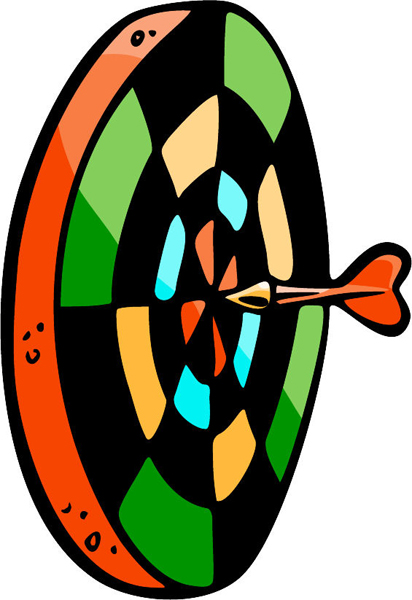 Dart and target full color sports sticker. Personalize as you order. POOLHALL_DARTS_5C_14