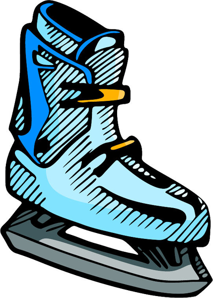 Ice skate full color sports decal. Personalize as you order. SKATING_5C_20