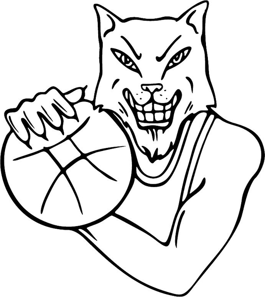 Wildcat basketball mascot action sports sticker. Personalize on line. MASCOTS_4BL_47
