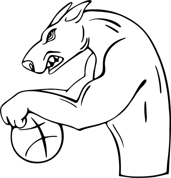 Angry Doberman basketball mascot sports vinyl decal. Personalize on line. MASCOTS_4BL_63