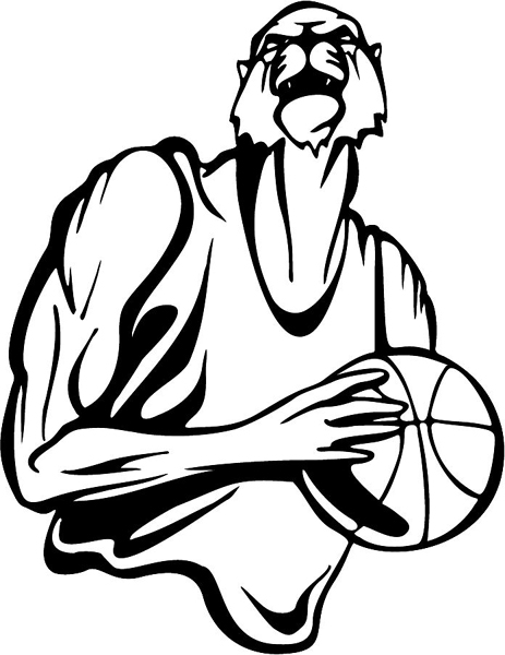 Muscled Wildcat basketball mascot action sports decal. Customize on line. MASCOTS_5BL_083