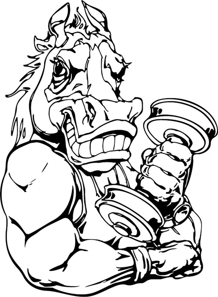 Mustang weightlifting mascot sports action vinyl sticker ...